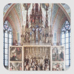 El Altarpiece 1471-81 del St. Wolfgang Pegatina Cuadrada