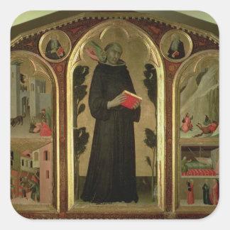 El Altarpiece bendecido de Agustín Novello Pegatina Cuadradas Personalizadas