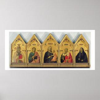 El Altarpiece de Badia con Madonna y los santos, c Póster