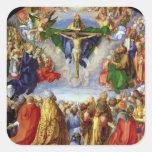 El Altarpiece de Landauer, Día de Todos los Calcomanía Cuadrada Personalizada