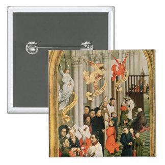 El Altarpiece de siete sacramentos Pin Cuadrada 5 Cm