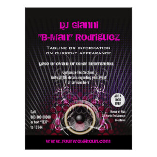 El altavoz de DJ irradia el poster promocional