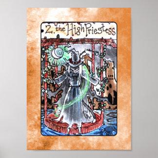 El alto poster de la carta de tarot de la sacerdot póster