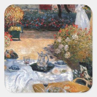 El alumerzo de Claude Monet Pegatina Cuadrada