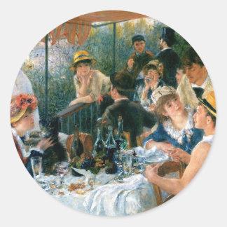 El alumerzo de Renoir del fiesta del canotaje Pegatina Redonda