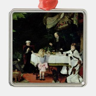 El alumerzo en el invernadero, 1877 adorno navideño cuadrado de metal