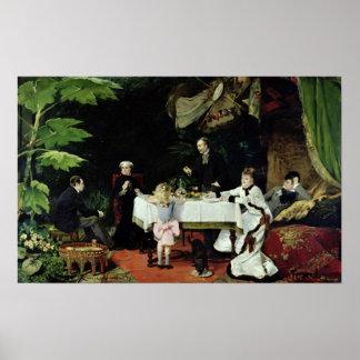 El alumerzo en el invernadero, 1877 posters