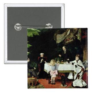 El alumerzo en el invernadero, 1877 pin cuadrado