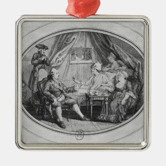 El alumerzo en Ferney, el 4 de julio de 1775 Adorno Navideño Cuadrado De Metal