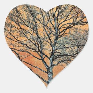 El amanecer del invierno calcomania de corazon personalizadas