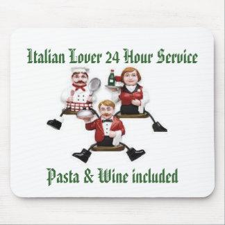 El amante italiano 24 pastas y vino del servicio d tapetes de ratón