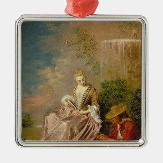 El amante tímido, 1718 adorno cuadrado plateado