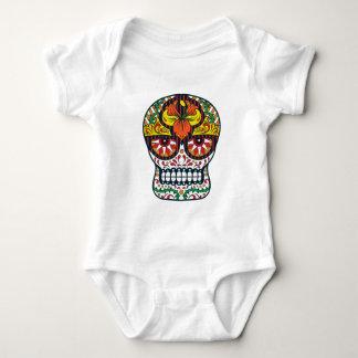 El amarillo anaranjado florece el cráneo mexicano body para bebé