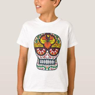 El amarillo anaranjado florece el cráneo mexicano playera