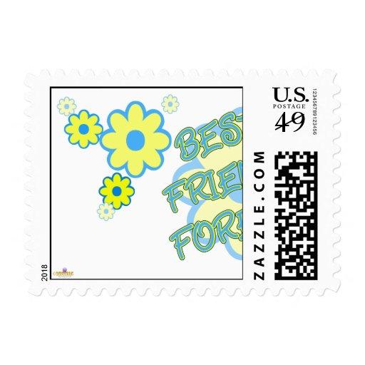 El amarillo azul de los mejores amigos florece par sellos