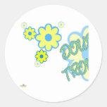 El amarillo azul del problema doble florece la pegatina redonda