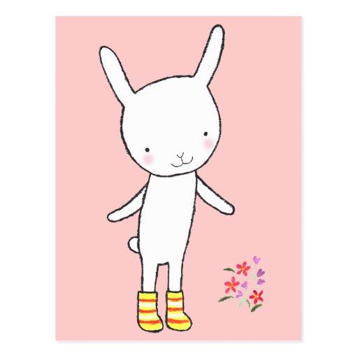 El amarillo blanco lindo del conejo de conejito pa tarjeta postal