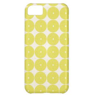 El amarillo bonito circunda discos texturizados fr funda para iPhone 5C