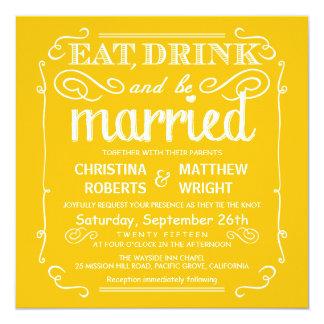 """El amarillo come la bebida esté casado que casa invitación 5.25"""" x 5.25"""""""