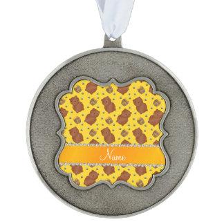 El amarillo conocido lleva el modelo de las abejas adorno ondulado de peltre
