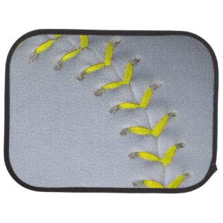 El amarillo cose béisbol/softball alfombrilla de auto