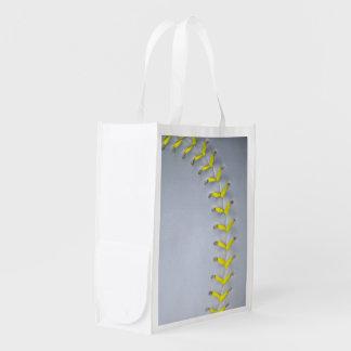 El amarillo cose béisbol/softball bolsa para la compra
