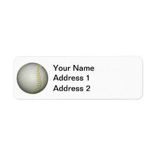 El amarillo cose béisbol/softball etiqueta de remite