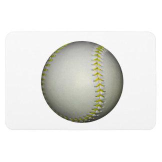El amarillo cose béisbol/softball imanes rectangulares