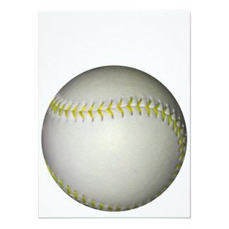 """El amarillo cose béisbol/softball invitación 5.5"""" x 7.5"""""""