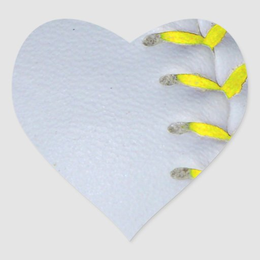 El amarillo cose béisbol/softball calcomania corazon
