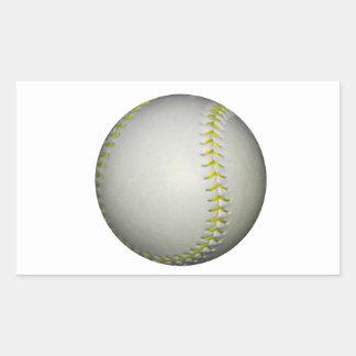 El amarillo cose béisbol/softball pegatina rectangular