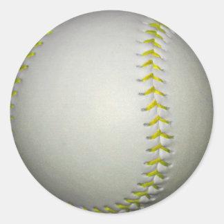 El amarillo cose béisbol/softball pegatina redonda