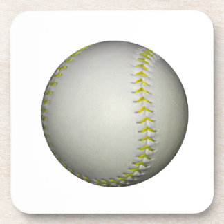 El amarillo cose béisbol/softball posavasos de bebida