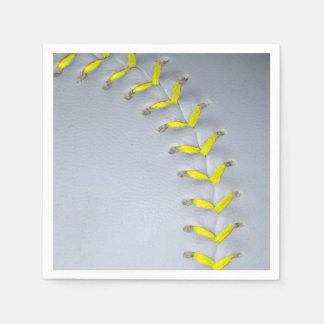 El amarillo cose béisbol/softball servilletas de papel