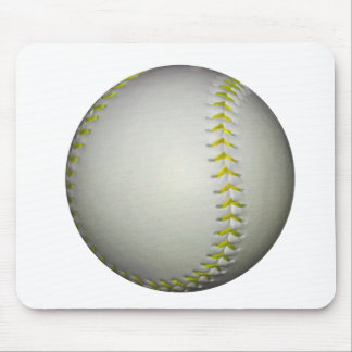 El amarillo cose béisbol/softball mouse pads