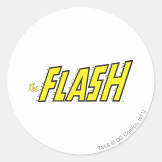 El amarillo de destello del logotipo pegatina redonda