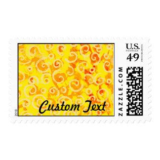 El amarillo de encargo remolina las ilustraciones sellos