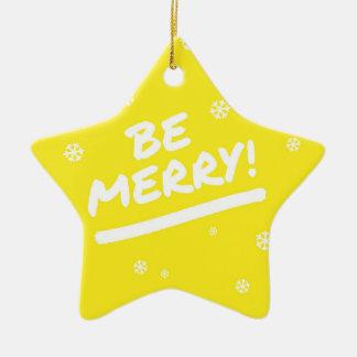 El amarillo de la diversión sea felices copos de adorno navideño de cerámica en forma de estrella