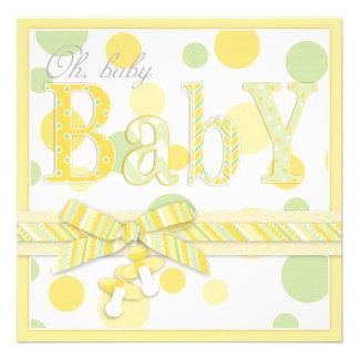 El amarillo de la menta del bebé puntea la fiesta invitación personalizada