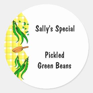 El amarillo de las habas verdes comprueba pegatina redonda