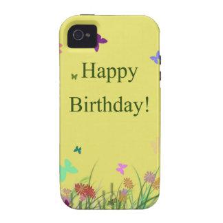 El amarillo del feliz cumpleaños florece mariposas iPhone 4 carcasas