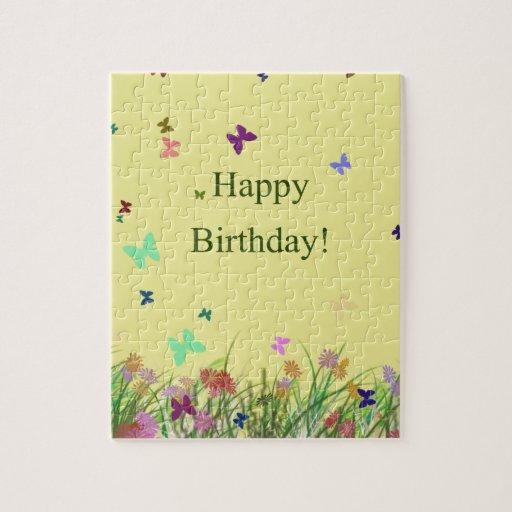 El amarillo del feliz cumpleaños florece mariposas rompecabezas con fotos