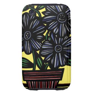El amarillo del negro azul florece floral tough iPhone 3 carcasa
