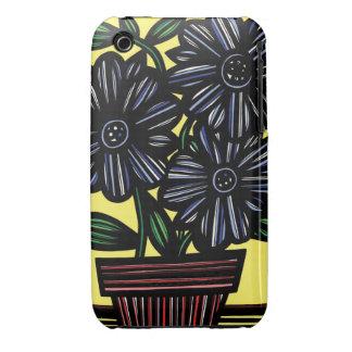 El amarillo del negro azul florece floral iPhone 3 protectores