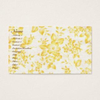 El amarillo del vintage se descoloró floral tarjeta de negocios
