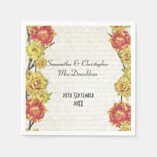 El amarillo elegante florece el boda floral del servilleta de papel