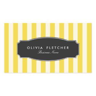 El amarillo elegante raya tarjetas de visita