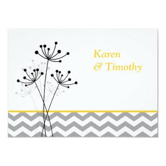 """El amarillo, floral gris, boda de Chevron invita Invitación 4.5"""" X 6.25"""""""