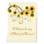 El amarillo florece a la criada de tarros de albañ invitación