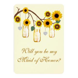 El amarillo florece a la criada de tarros de invitación 12,7 x 17,8 cm